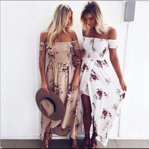 New! Flirty, floral, long, white maxi dress